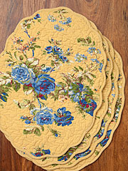 Heirloom Rose Placemat Quilted Set/4 - Gold
