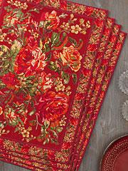 Victorian Rose Placemat Set/4 - Brick