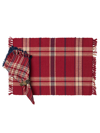 Cinnamon Plaid Rib Placemat Set/4