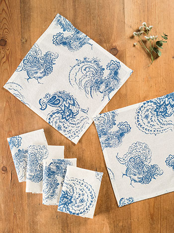 Backyard Rooster Cocktail Napkin S/6