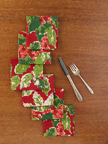 Jolly Holly Cocktail Napkin Set of 6