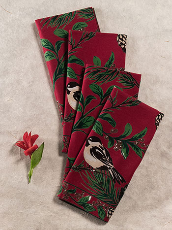 Chickadee Napkin Set/4