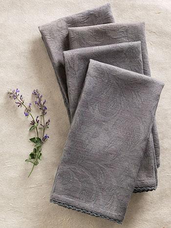 Luxurious Linen Jacquard Napkin Set/4 - Charcoal