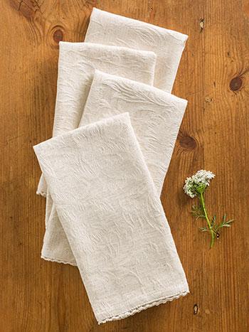 Luxurious Linen Jacquard Napkin Set/4 - Linen