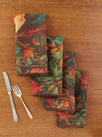 Gorgeous Garden Linen Napkin Set of 4