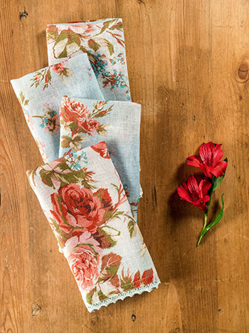 Heirloom Rose Linen Napkin S/4