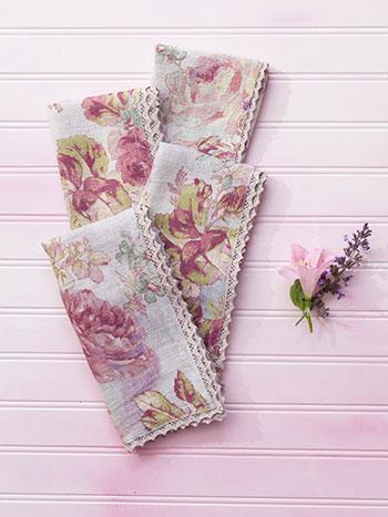 Victorian Rose Linen Napkin Set/4