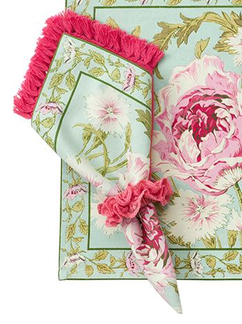 Rose Nouveau Napkin Set/4 - Aqua