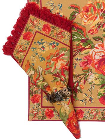Victorian Rose Napkin Set/4  - Gold