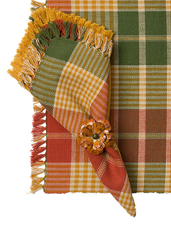 Pumpkin Plaid Napkin Set/4