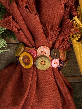 Harvest Button Napkin Ring Set/4