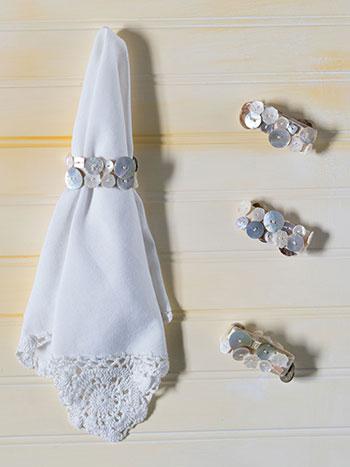 Pearl Button Napkin Ring Set/4