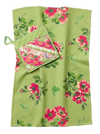 Bright Patchwork Pocket Potholder& Tea Towel Set