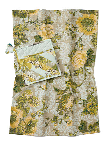 Citrine Patchwork Pocket Potholder & Tea Towel Set