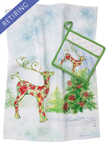 Dear Poinsettia Pocket Potholder & Tea Towel Set