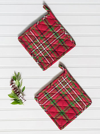 Christmas Plaid Potholder Set/2
