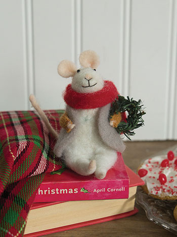 Gus with Wreath Felted Mouse