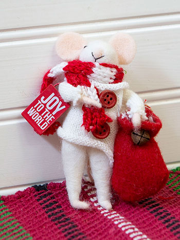 Joy to the World Felted Mouse