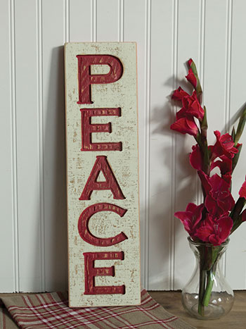 Wood Peace Carved Sign