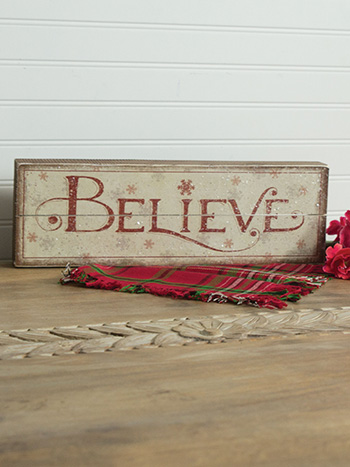 Wood Believe Slat Box Sign