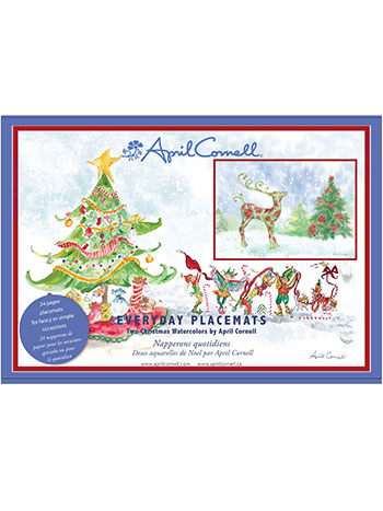 Christmas Watercolors Paper Placemats Set/24