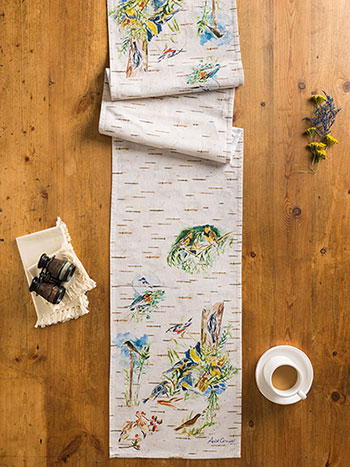 Boreal Birch Birds Table Runner