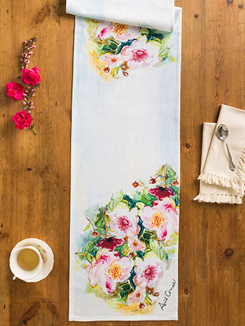 Peony Watercolor Table Runner
