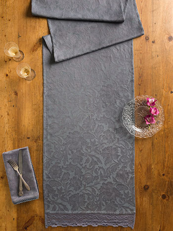 Luxurious Linen Jacquard Runner - Charcoal