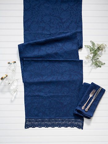 Luxurious Linen Jacquard Runner - Ink