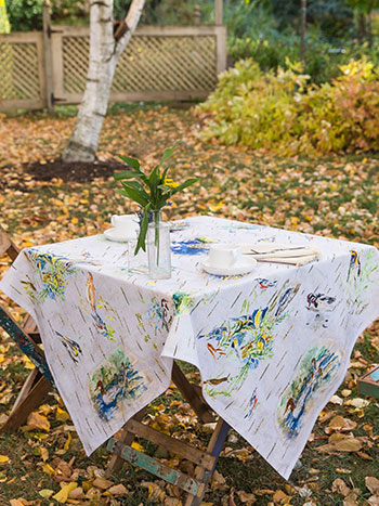 Boreal Birch Birds Tablecloth