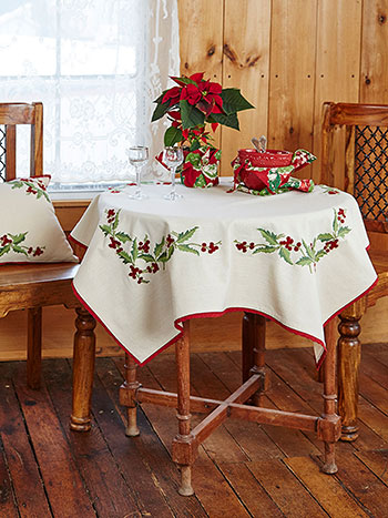 Hazel's Holly Embroidered Topper Cloth