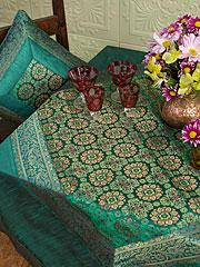 Emerald Brocade Tablecloth