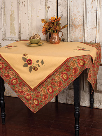 Sunflower Embroidered Topper Cloth