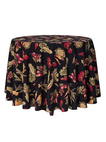 Farm Fresh Round Tablecloth - Black