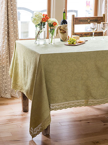 Luxurious Linen Jacquard Tablecloth - Soft Moss