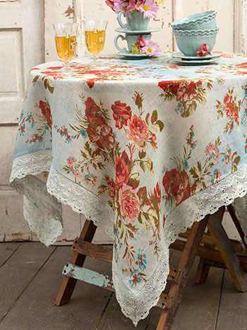 Heirloom Rose Linen Tablecloth