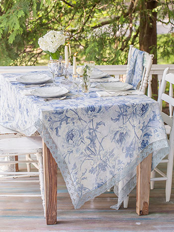 Rose Nouveau Linen Tablecloth