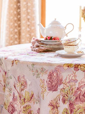 Victorian Rose Linen Tablecloth
