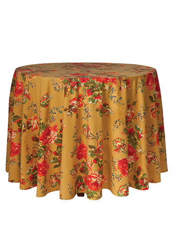 Victorian Rose Round Cloth - Gold