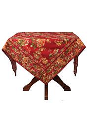 Victorian Rose Tablecloth - Brick