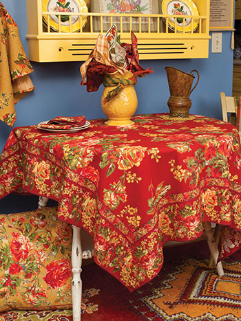 Victorian Rose Tablecloth - Brick