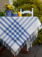 Happy Picnic Gingham Tablecloth - Blue