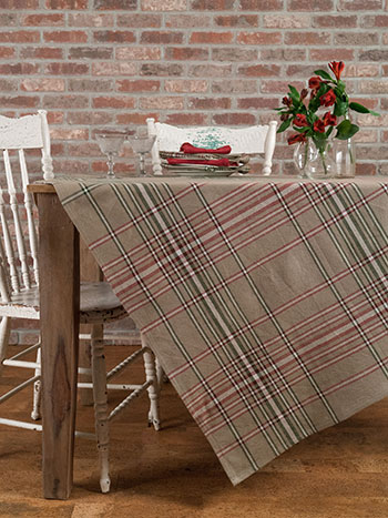 Homespun Christmas Plaid Tablecloth