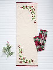 Hazel's Holly Embroidered Table Scarf