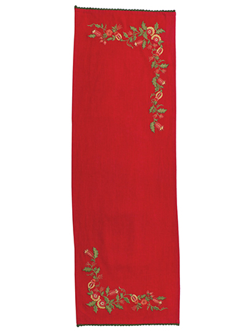 Joyful Embroidered Table Scarf