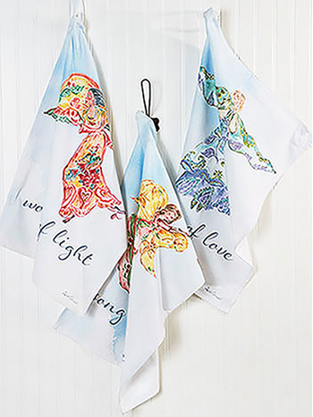 Angel Watercolor Tea Towel Set of 3