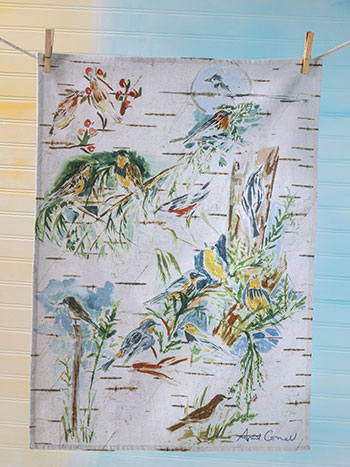 Boreal Birch Birds Tea Towel