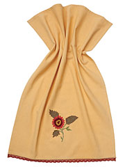 Sunflower Embroidered Tea Towel