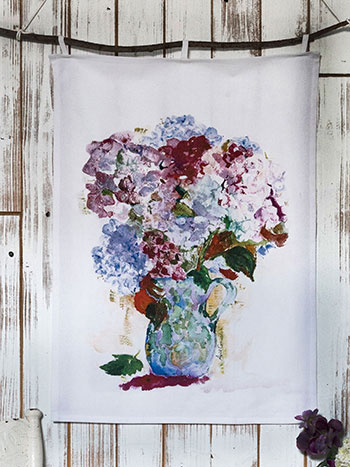 My True Love's Hydrangea Tea Towel