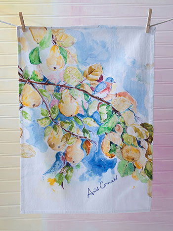 Pears Water Color Tea Towel